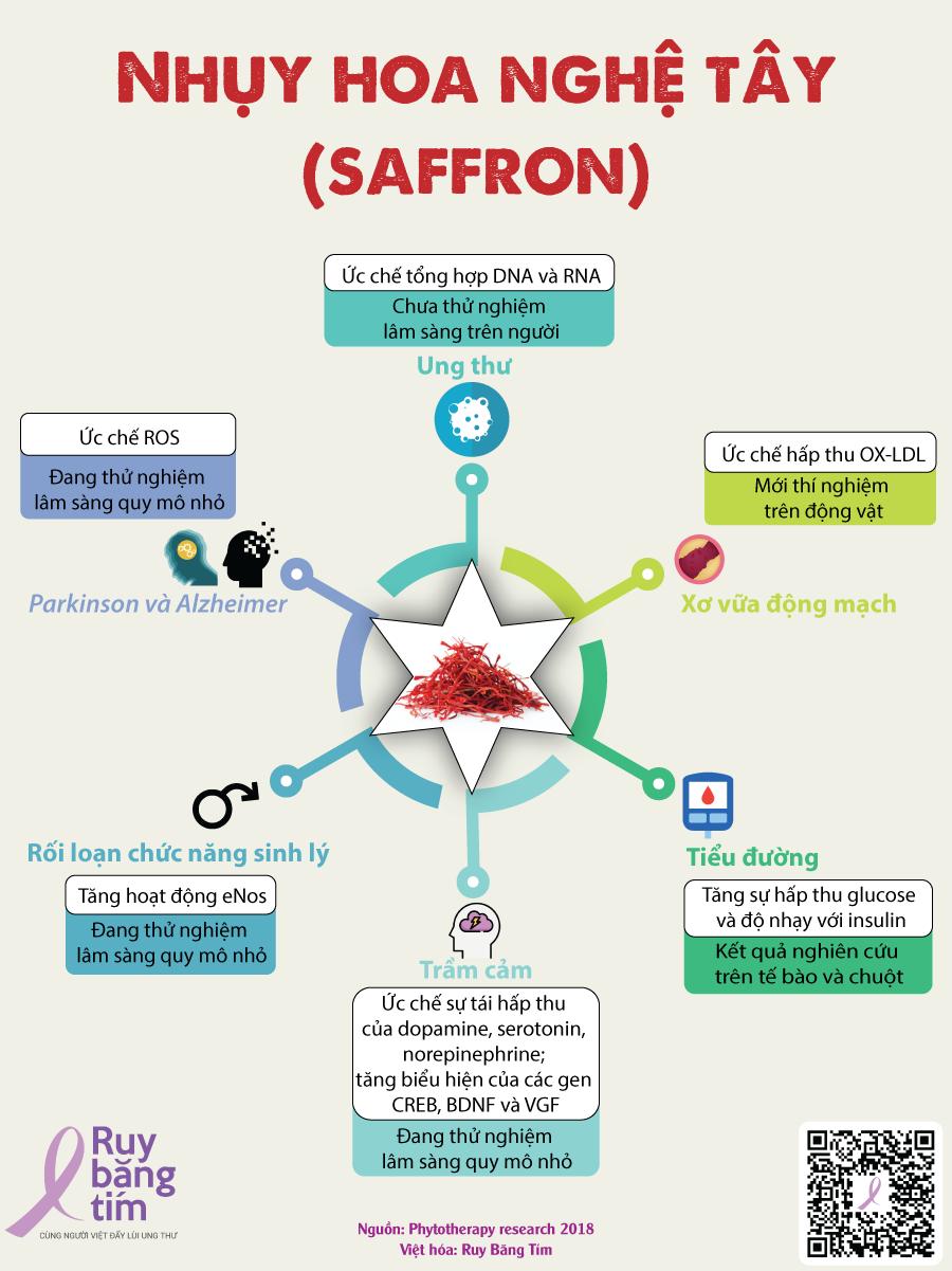 Hình 1: Nghiên cứu ứng dụng của saffron trong điều trị bệnh (1). Thiết kế: Trương Tài Nhân.